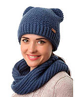 Женская вязаная спицами зимняя шапка - кошка и вязаный шарф - снуд