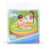 Бассейн детский, круглый, с надувным дном, 3 кольца. Лето (Арт. 51104)