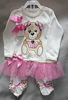 Трикотажный костюм для новорожденных девочек 0-9 мес, Турция, оптом