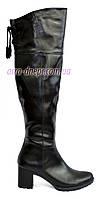"""Черные кожаные ботфорты демисезонные на каблуке от производителя ТМ """"Maestro"""""""