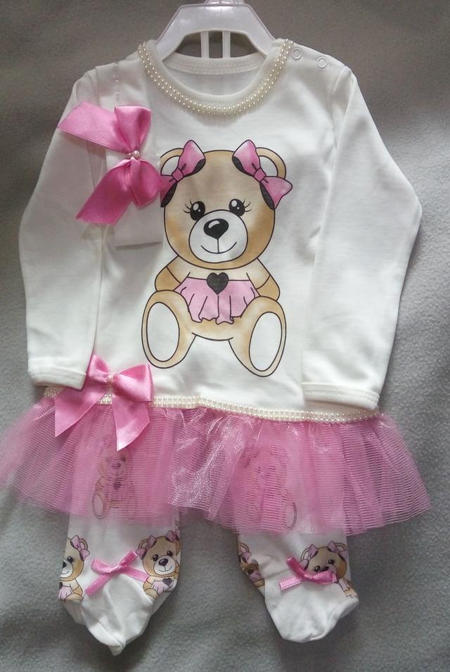 Трикотажный костюм для новорожденных девочек 0-9 мес, Турция, оптом-1