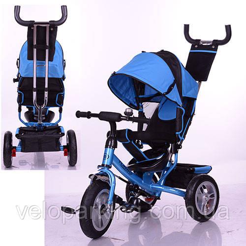Трехколесный детский велосипед Turbo Trike M3113-5A (2017) синий (надувные колеса)