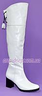 """Белые кожаные ботфорты демисезонные на каблуке от производителя ТМ """"Maestro"""""""