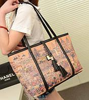 Вместительная сумка баула с кисточками и принтом города + клатч кошелек