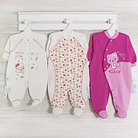 Человечки для новорожденных девочек, набор-3шт. Код 14 gerda. В наличии _56_62,68 см. Рост