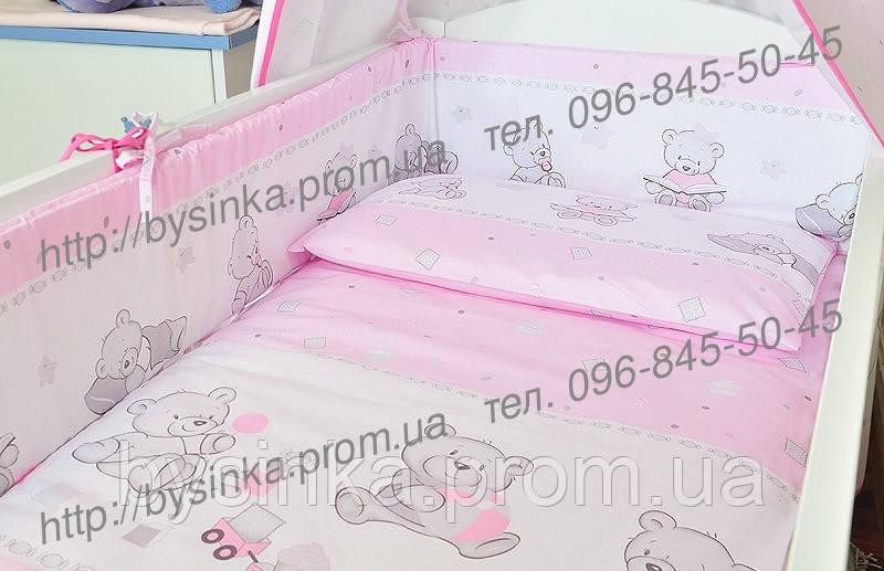 """Бортики высокие с чехлами на молнии и постелька в детскую кроватку-""""Мишки игрушки"""""""