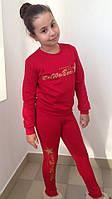 Красный детский батник на флисе с принтом. Арт-1549