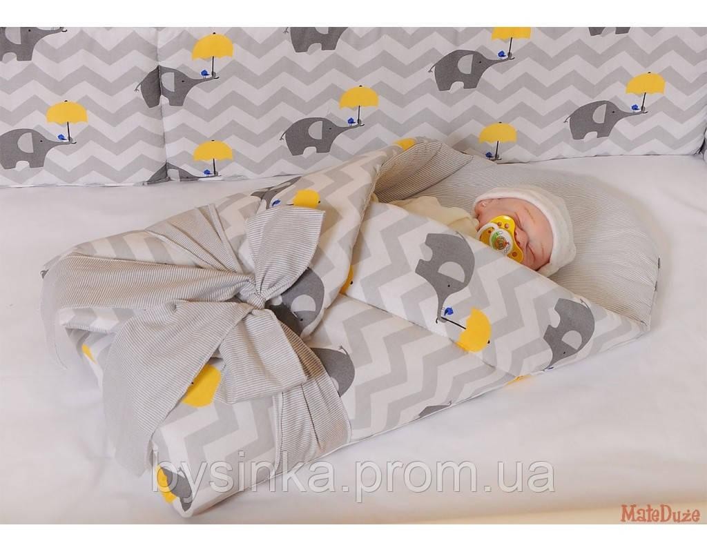 """Бортики высокие с чехлами на молнии и постелька в детскую кроватку-""""Слоники зонтики"""" ,  серия Organic Cotton"""