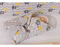 """Бортики высокие с чехлами на молнии и постелька в детскую кроватку-""""Слоники зонтики"""" ,  серия Organic Cotton, фото 1"""