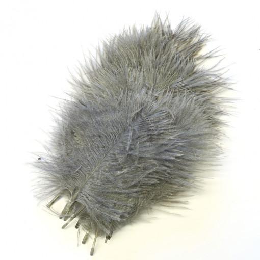 Перо страуса Серое .Размер 30см