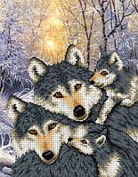 """Схема для вышивки бисером/крестом на габардине """"Семья волков"""""""