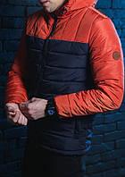 Куртка весенняя, осенняя, демисезонная  мужская,темно-синий+оранжевый, до -2 градусов