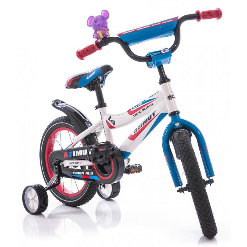 """Детский двухколесный велосипед Azimut Fiber-12"""",бело-красный"""