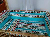 """Бортики высокие с чехлами на молнии и постелька в детскую кроватку-""""Машинки"""", фото 1"""