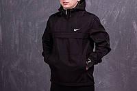 Анорак Nike мужской, куртка спортивная, ветровка весенняя, осенняя черный, фото 1