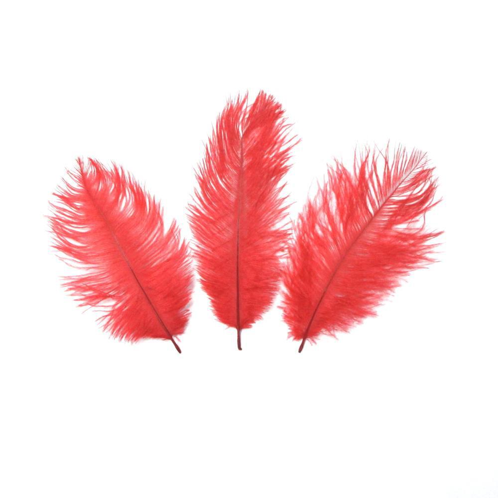 Перо страуса Красное . Размер 15-20cм