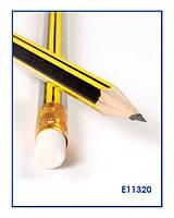 Карандаш чернограф.НВ (12 шт),корпус черн. и желт. полосы