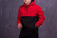 Анорак Nike мужской, куртка спортивная ветровка весенняя, осенняя, черный+красный