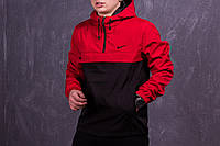Анорак, ветровка, куртка весенняя, осенняя, черный+красный