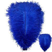 Перо страуса Синее .Размер 30см