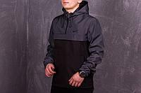 Анорак, ветровка, куртка весенняя, осенняя, черный+серый
