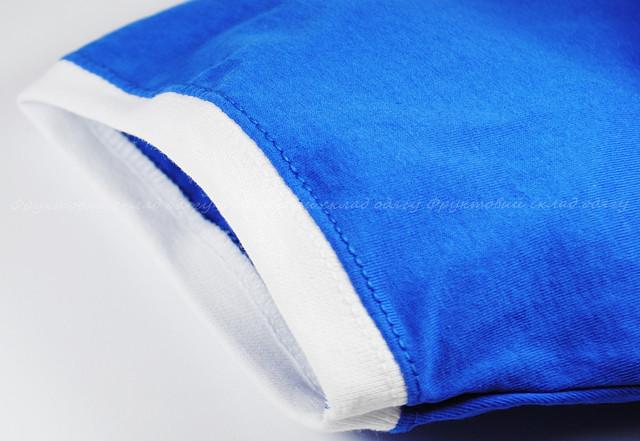 Мужская футболка комбинированная, Ярко-синий/Белый
