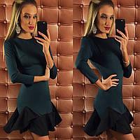 Стильное зеленое платье с воланами по низу. Арт-9744/12