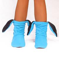 Тапочки Зайчики голубые с черными ушами