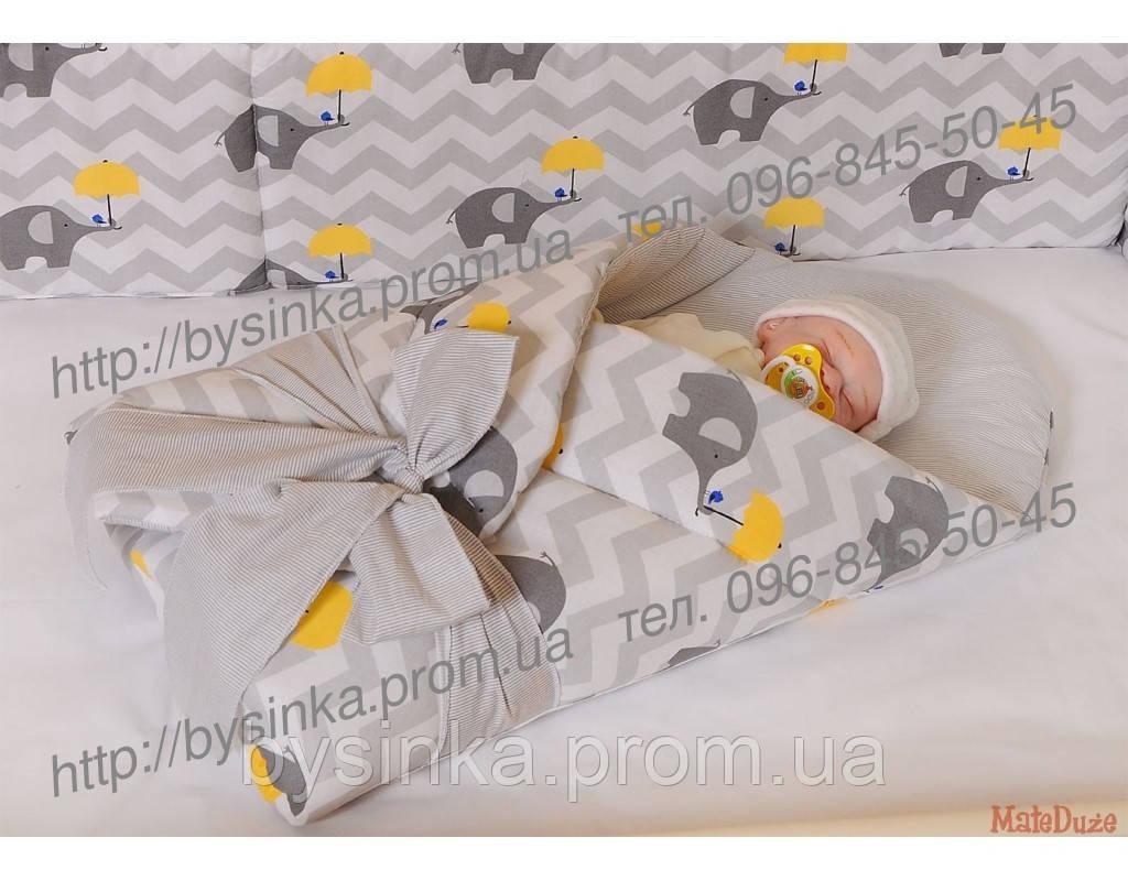 """Детское постельное в кроватку из 3-ед-""""Слоники-зонтики"""", серия Organic Cotton"""