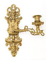 Старый настенный канделябр, подсвечник, бронза, латунь, Германия