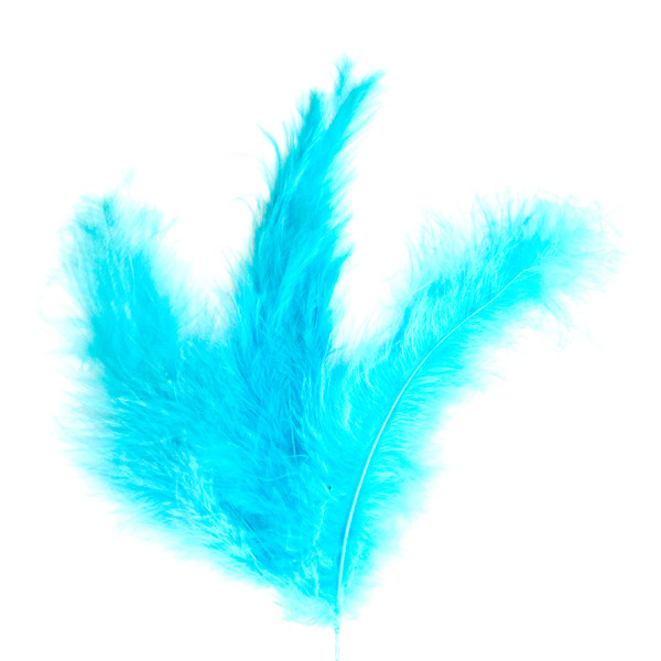Перо страуса Бирюзовое .Размер 15-20cм