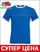 Мужская Футболка с Цветной Окантовкой Fruit of the loom Ярко-Синий/Белый 61-168-Kb Xl, фото 3