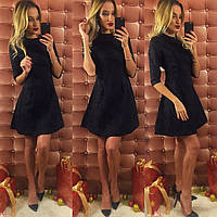 Черное короткое платье с турецкого жаккарда. Арт-9745/12