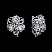Крупные серебряные серьги Барвинок, фото 1