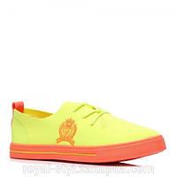 Женские стильные желтые легкие удобные польские кеды, слипоны на шнурках 41 Vices