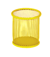 Подставка для ручек круглая, желтая, метал 90х90х100мм