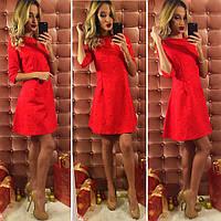 Красное  короткое платье с турецкого жаккарда. Арт-9745/12