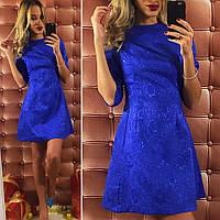 Женское  короткое платье с турецкого жаккарда, цвет электрик. Арт-9745/12