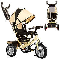 Трехколесный детский велосипед Turbo Trike M115-НА (2017) золотой (надувные колеса)