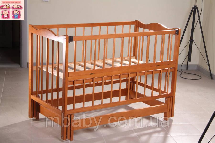 Детская кроватка Ангелина 2 (цвет кальвадос), шарнир-подшипник, одкидная боковина