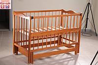 Детская кроватка Ангелина 2 (цвет кальвадос), шарнир-подшипник, одкидная боковина, фото 1