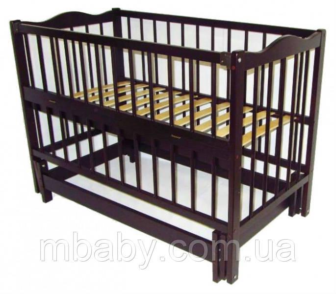 Детская кроватка Ангелина 2 (цвет вене), шарнир-подшипник, одкидная боковина