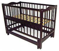 Детская кроватка Ангелина 2 (цвет вене), шарнир-подшипник, одкидная боковина, фото 1
