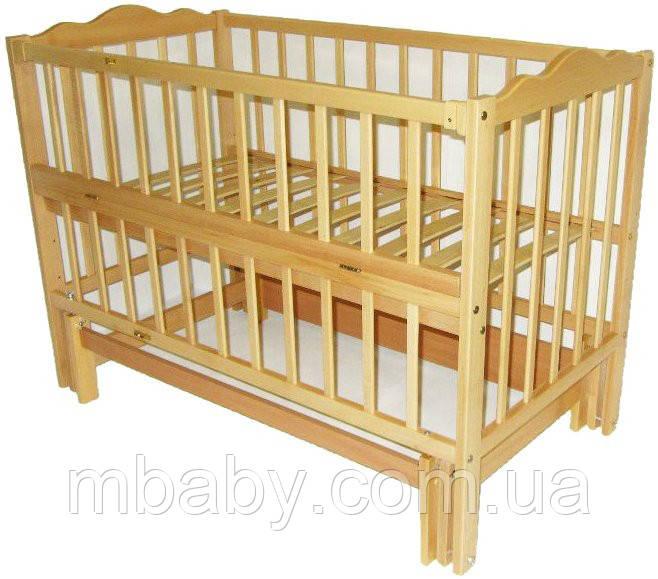 Детская кроватка Анастасия 2 (цвет натуральный), шарнир-подшипник, одкидная боковина
