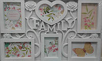Фоторамка коллаж Family/Семья 6фото (9х13,10х15-5) бел 34v2-24