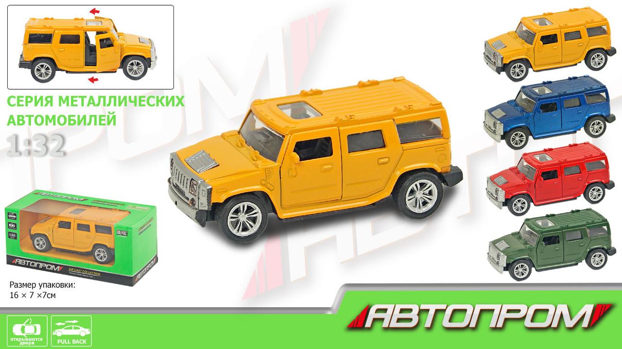 Машина металлическая Hummer, 4 цвета, открываются двери, АВТОПРОМ, 7706