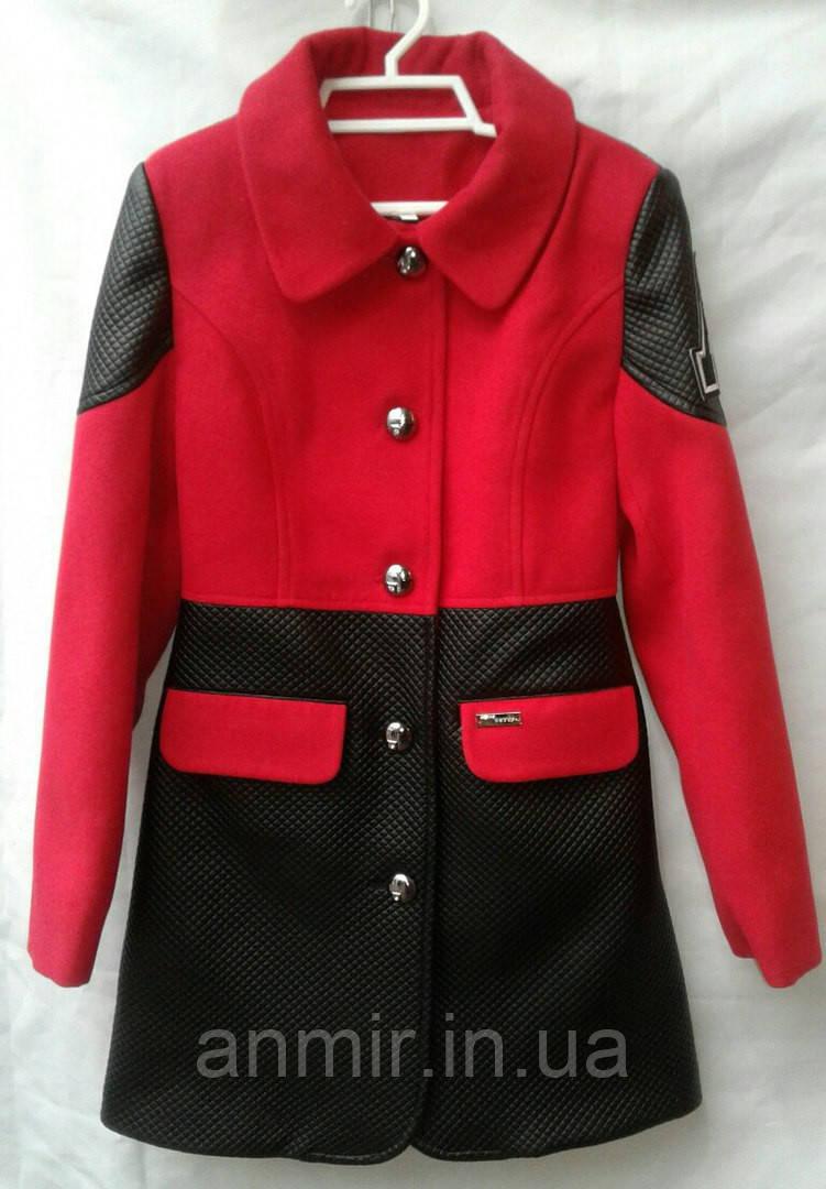 Пальто демисезонное подростковое для девочки 7-11 лет,'Фенди'''красное с черным, фото 1