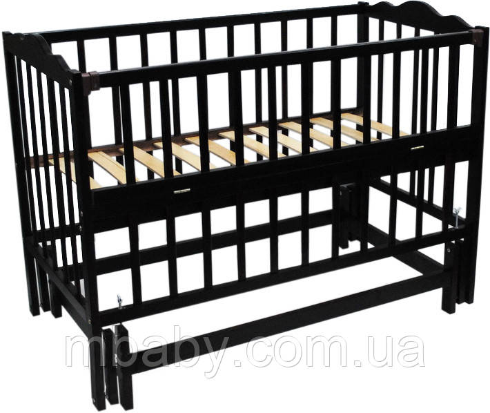 Детская кроватка Анастасия 2 (цвет венге), шарнир-подшипник, одкидная боковина