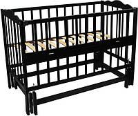 Детская кроватка Анастасия 2 (цвет венге), шарнир-подшипник, одкидная боковина, фото 1