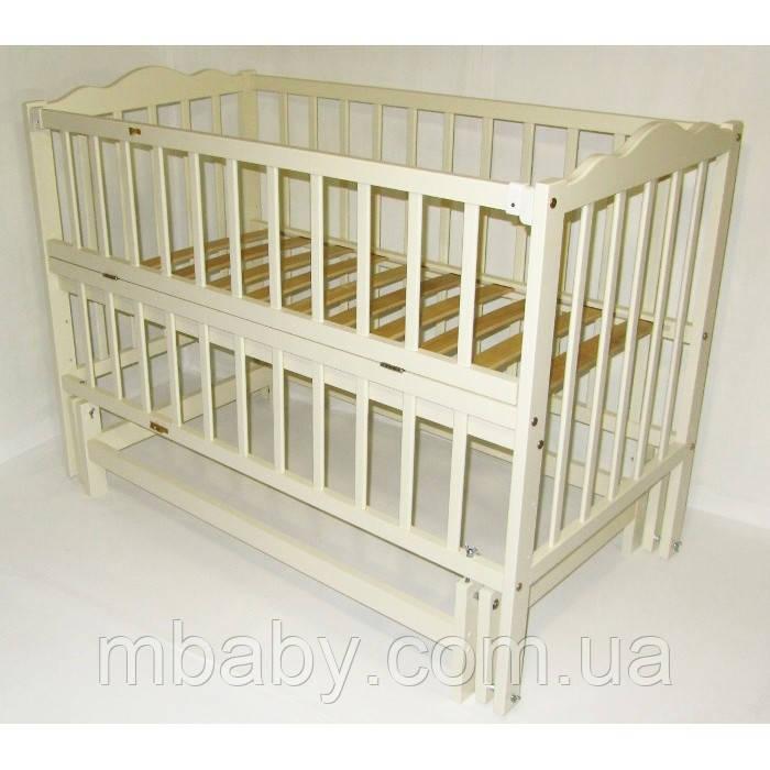 Детская кроватка Анастасия 2 (цвет слоновая кость), шарнир-подшипник, одкидная боковина